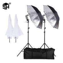 SH Flash ShoeMount giratorio suave paraguas Kit para fotografía con luz y soporte, tipo B