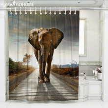Strolling Elephant African Shower Curtains 3D Bathroom Curtain Moldproof Waterproof Fabric Bath rideau douche