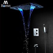 Rainfall LED Light Big Showerhead Waterfall Shower Head Bathroom Thermostatic Shower Faucet Mixer Ceiling Mounted Shower Set цены