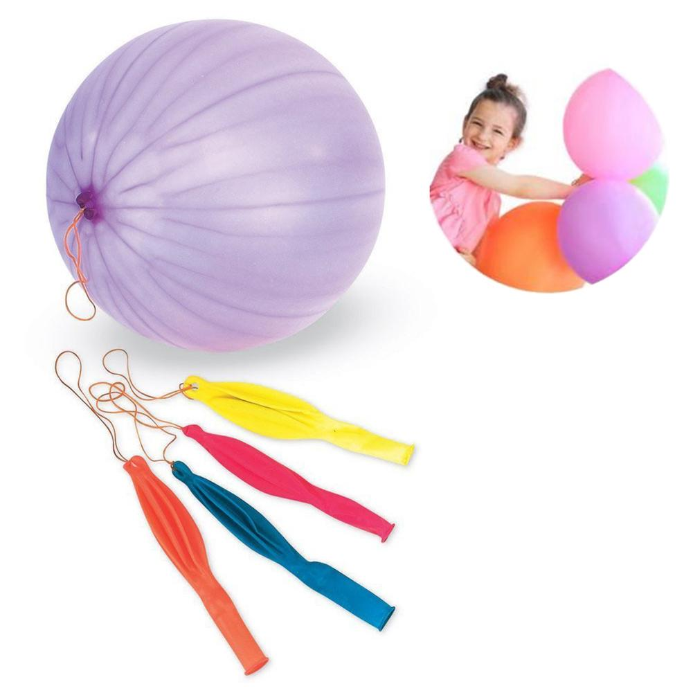 Neon Round Punch Balloons Balls With Rubber Band Handle Kids Toy Party Supplies Decoration Assorted Color