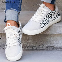 Women Spring Canvas Shoes New Light Slip on Flat Ladies Casual Shoes Woman Loafers White Sneakers Leopard Flats Plus Size