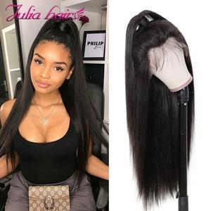 Image 2 - Бразильские прямые волосы 13x4 Синтетические волосы на кружеве человеческие волосы парики предварительно вырезанные эффектом деграде (переход от темного к выделить Синтетические волосы на кружеве парик 99J Ali Julia 4x4 кружева закрытие парик
