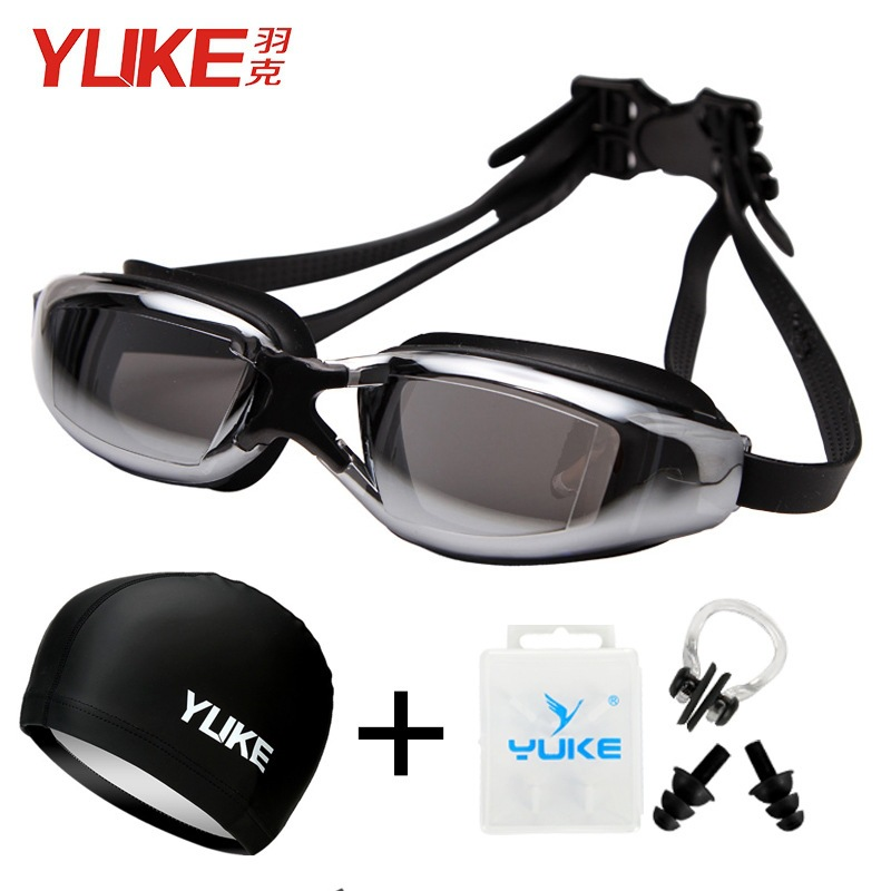 Yuke Goggle And Swimming Cap Outfit High-definition Waterproof Anti-fog Myopia Plain Glass Adult Children Men's Women's Large Fr