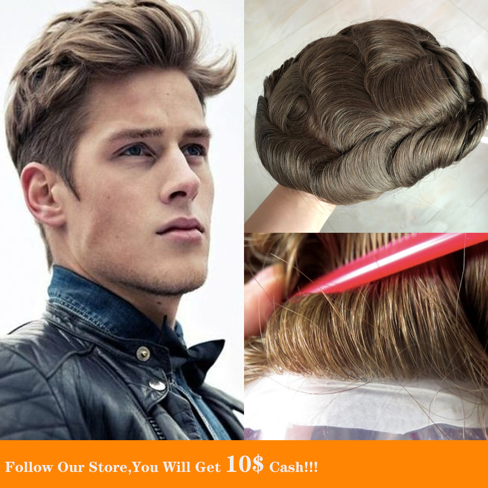 BYMC Full PU Soft Tied Monofilament Base Lace Away Super Men's Toupee Natural Hair Trim Men's Replacement Hair Free Shipping