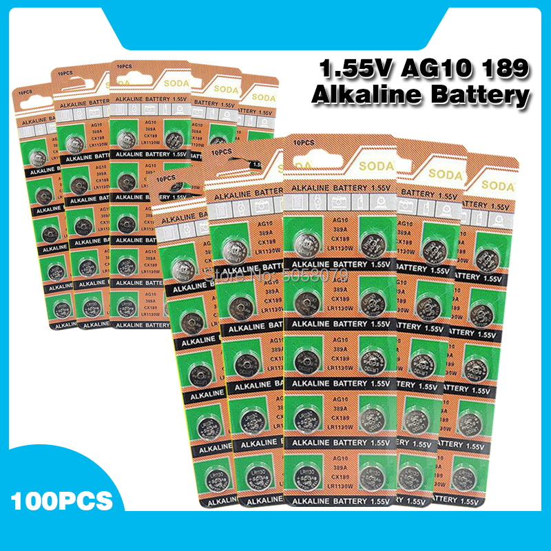100 Pcs 1.55V <font><b>AG10</b></font> L1131 389 189 LR54 LR1130 Alkaline <font><b>Batteries</b></font> Button Cell Coin For Clocks Watches Calculators Computers image