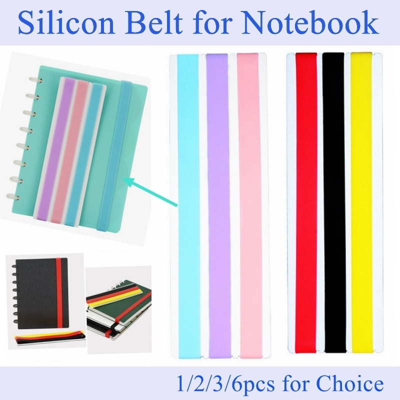 1/3/6pcs Silicon Notebook Elastic Strap DIY Notebook Belt For A5 Notebook Stationery Accessories LF19-306