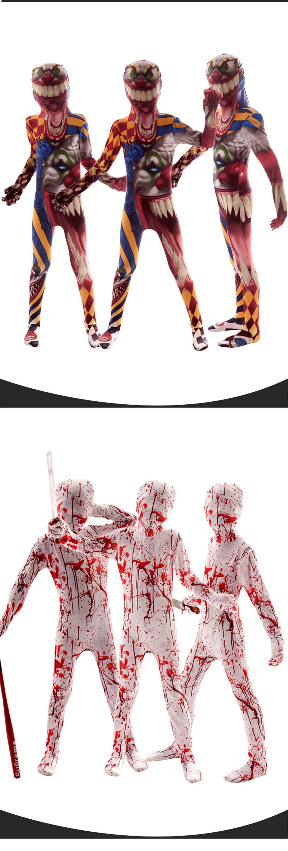 Хэллоуин страшные костюмы для детей демон, дьявол вариант клоун 3D принт Костюм Скелета в китайском стиле Карнавальная одежда для вечеринки