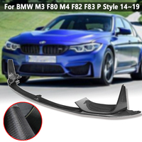 Car Front Bumper Lip Chin Spoiler With Removable Side Splitter Carbon Fiber For BMW M3 F80 M4 F82 F83 P Style 14~19