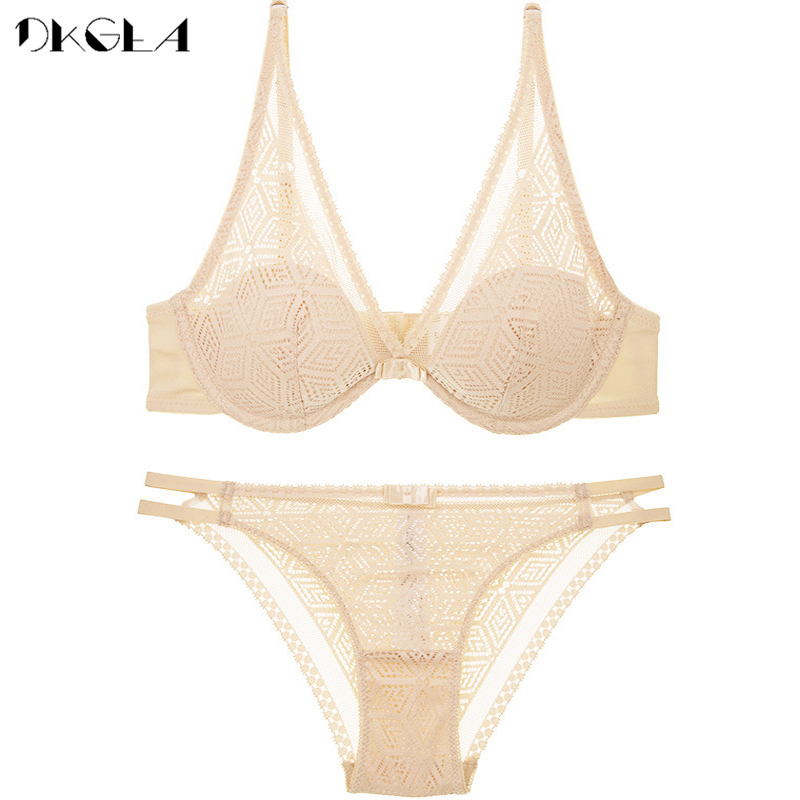 2020 Thin Cotton Bra Panties Sets White Women Lingerie Set Embroidery Hollow Brassiere A B C Cup Sexy Bras Lace Underwear Set 5