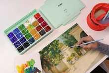MIYA Gouache watercolor Paint Set 24 Colors * 30ml Unique Jelly Cup Design Portable Case with Palette for Artists Students Paint