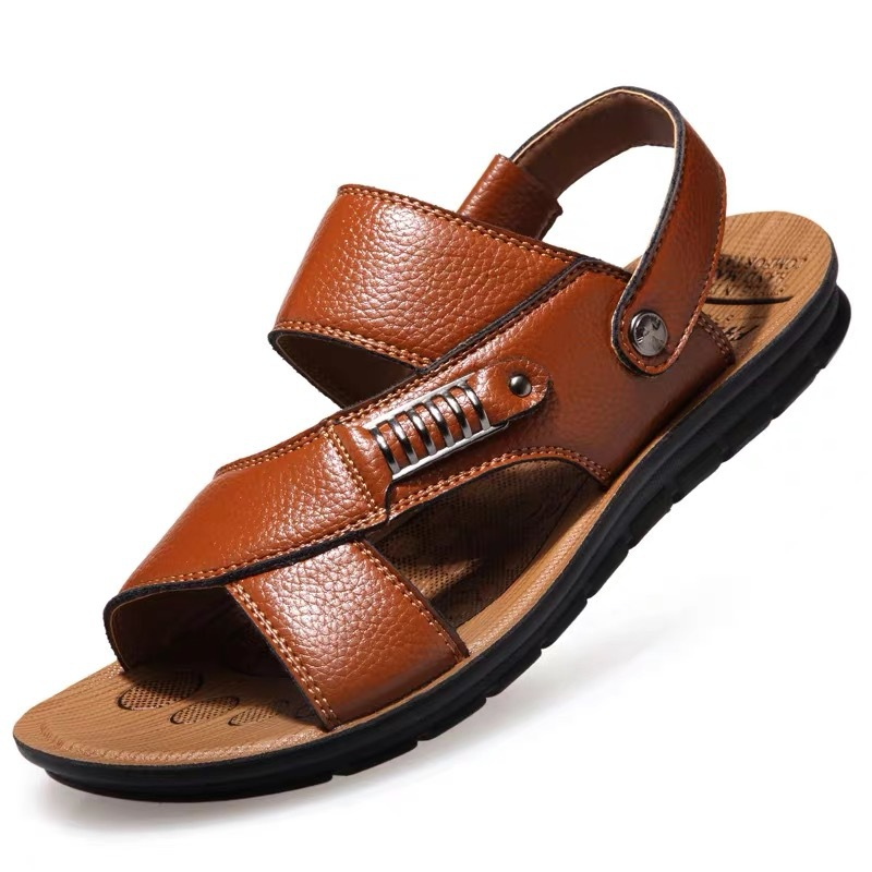 New Leather <font><b>Sandals</b></font> <font><b>Men</b></font> Roman <font><b>Sandals</b></font> <font><b>Summer</b></font> Beach <font><b>Men</b></font> Casual Shoes Beach Flip Flops Male <font><b>Fashion</b></font> <font><b>Outdoor</b></font> Slippers Shoes image