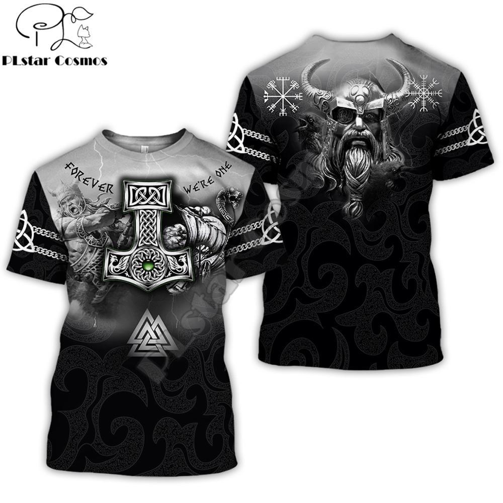 Brand Clothing Viking Tattoo Pattern Print 3D T Shirt Men Tshirt Summer Funny T-Shirt Short Sleeve O-neck Tops Drop Shipping