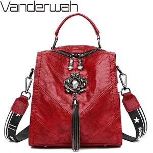 Image 1 - Backpack For Teenager Girls School Bag Studded Tassel Bagpack Sac A Dos Women Leather Small Travel Backpack Shoulder Bag Mochila