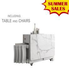 Fashion White color folding dining table furniture yemek masasi multifunctional rectangle dining table with 4 chairs