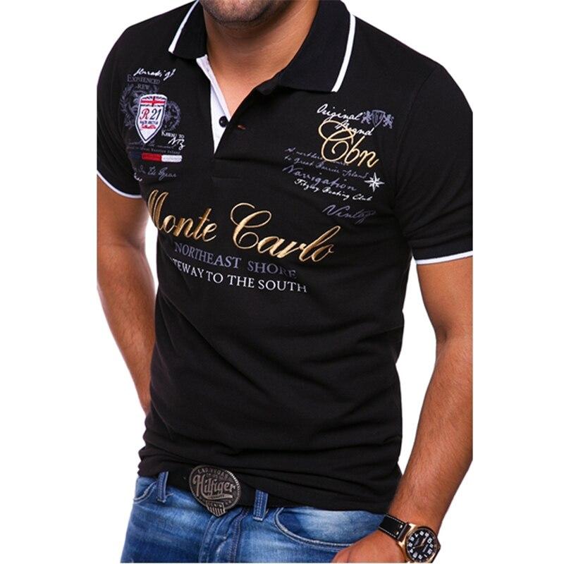 ZOGAA Men's T-Shirts Short-sleeved Letter Printed Brand Turn-down Collar Casual Tops High Quality Streetwear Slim Tshirts S-4XL