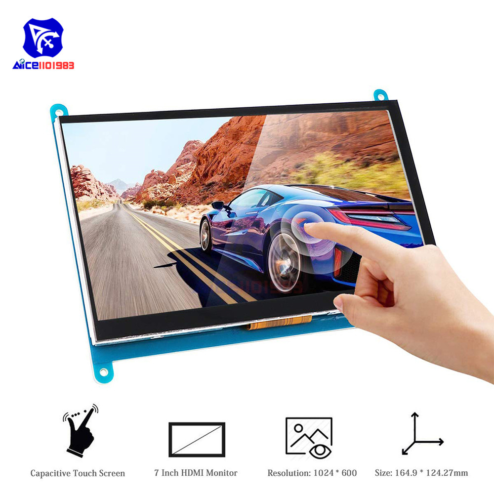 diymore <font><b>7</b></font> <font><b>Inch</b></font> Capacitive Touch Screen IPS TFT <font><b>LCD</b></font> Display HDMI Monitor Module 1024x600 for Raspberry Pi 3 / 2 / Model B+ image