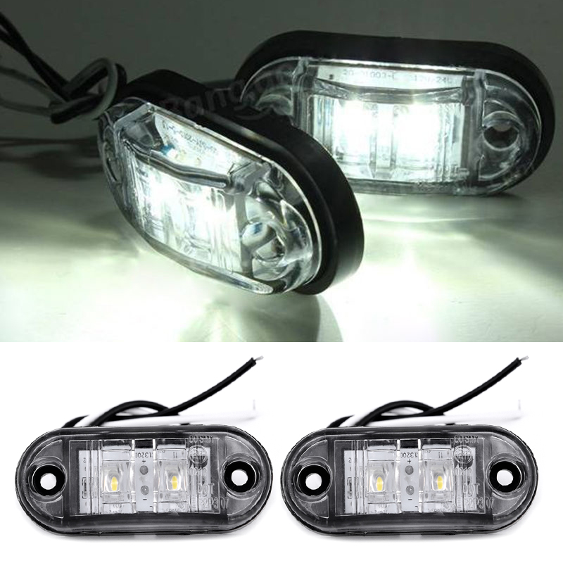 12V 2pcs White Side Marker Lights Tail Set Waterproof 0.5W LED Clearance Car Truck Caravan