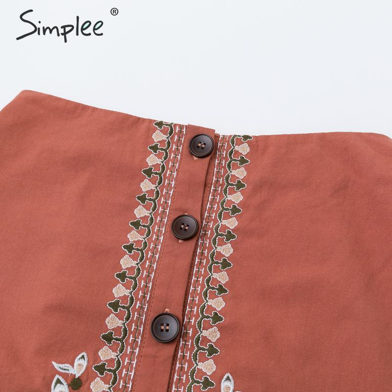 Image 5 - Simplee Enthic vintage floral embroidery women short skirt A line button female mini skirt High waist ladies bohemian skirt 2019-in Skirts from Women's Clothing
