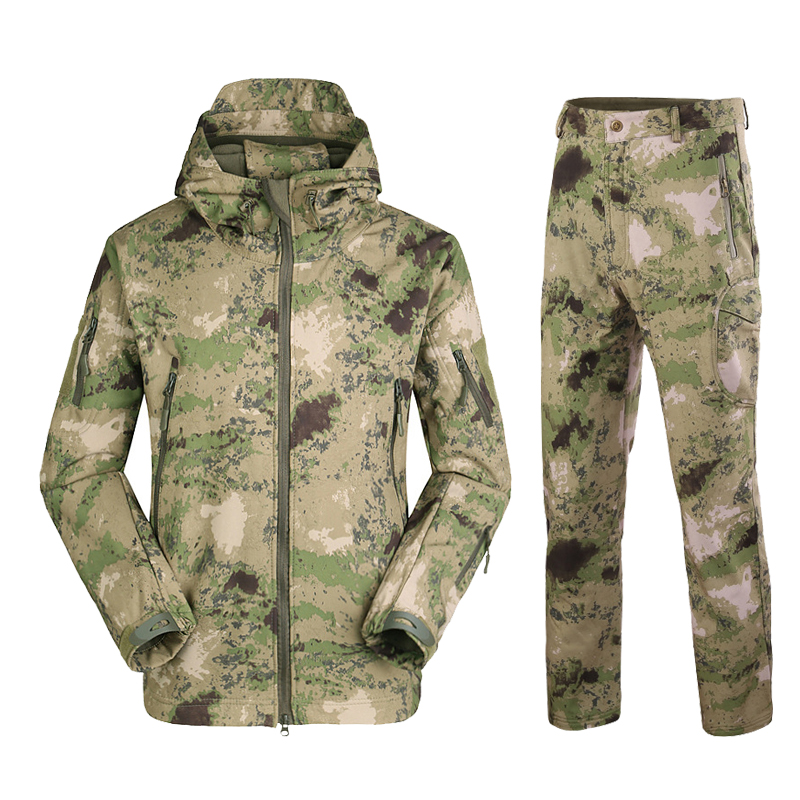 TAD Tactical Softshell Jacket Set Men Fleece Coat Army Waterproof Camouflage Clothing Suit Shark Skin Military Jackets Pants Set