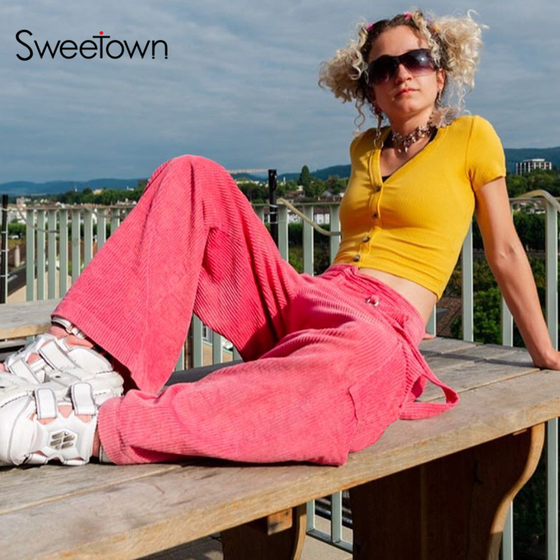 Sweetown 2019 Autumn Winter Corduroy Wide Leg Pants Women Casual Loose Pink Pockets Hip Hop Streetwear Trousers With Ribbon