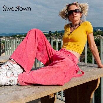 Sweetown 2020 jesienne zimowe sztruksowe spodnie szerokie nogawki damskie dorywczo luźne różowe kieszenie hiphopowy sweter spodnie ze wstążką