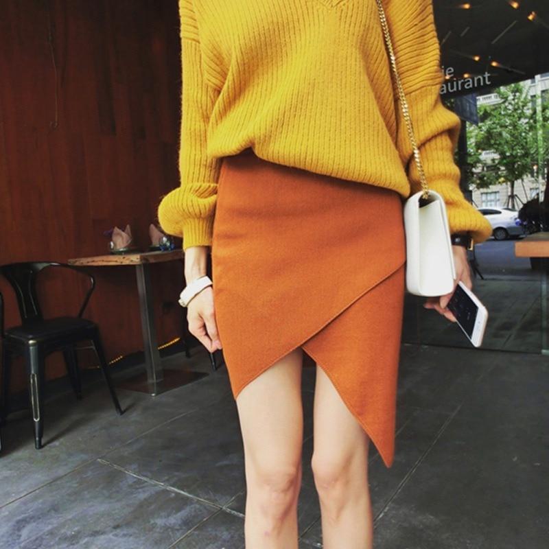 Autumn Knitted Bodycon Short Skirt for OL lady Fashion Skirts Women Sexy Irregular Mini Skirt