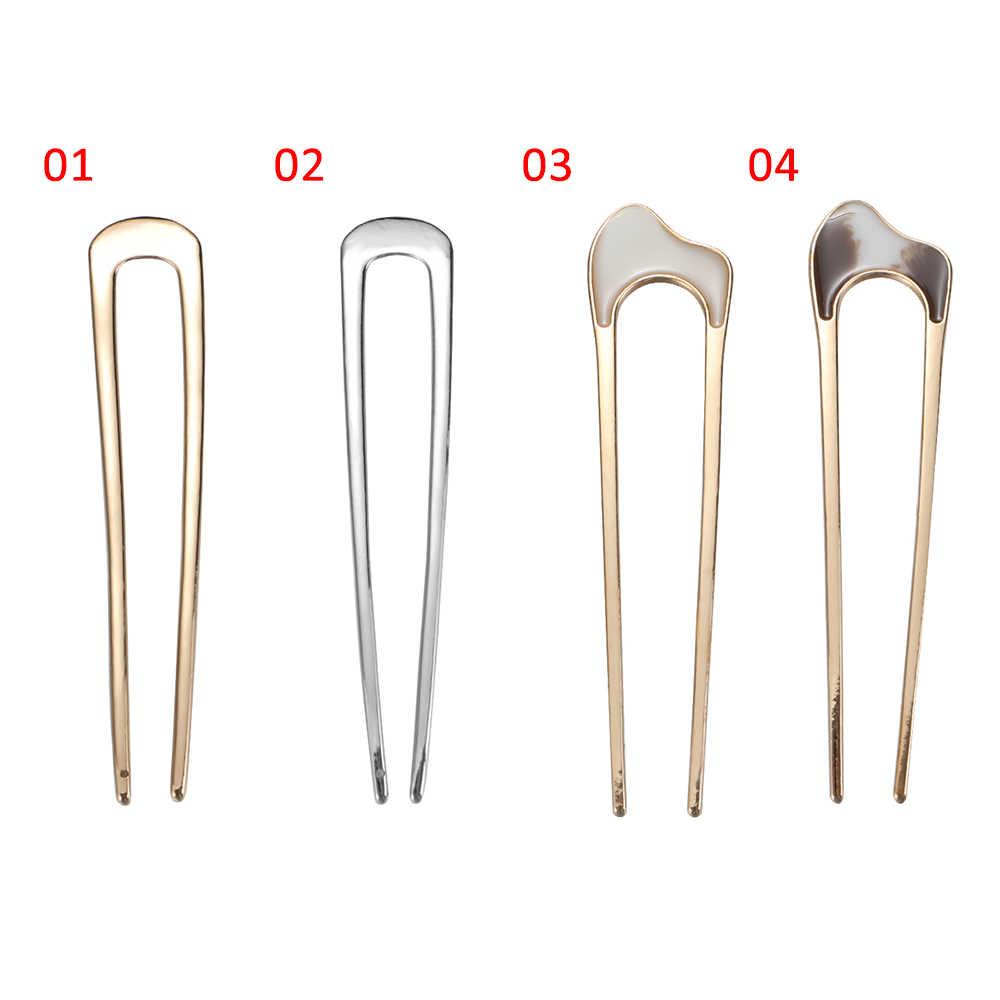 1 pieza de moda en forma de U Clip para el cabello Vintage metálico de Metal palo para el cabello herramientas de estilismo curvas accesorios horquilla curva horquilla