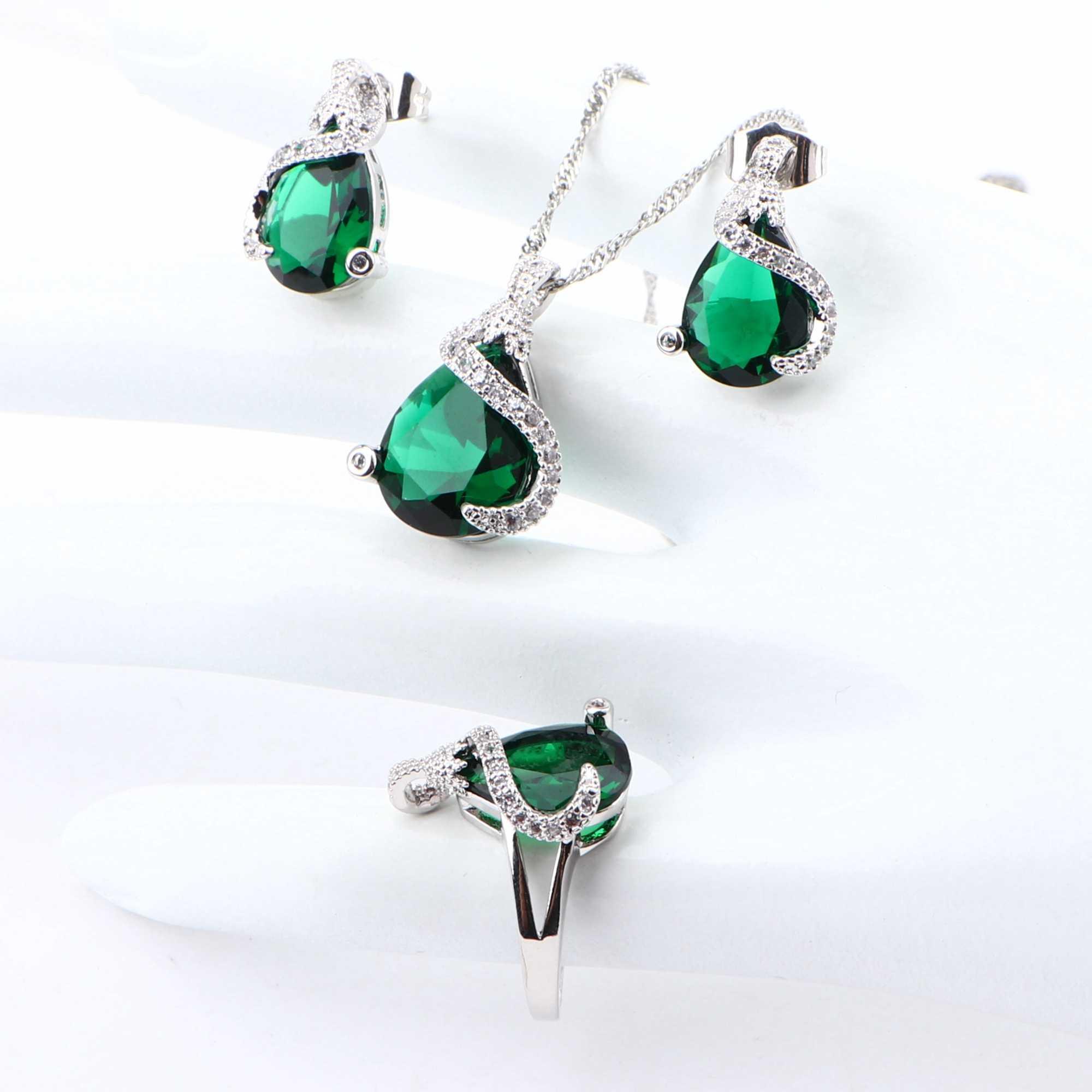 נשים יוקרה סטי תכשיטים עבור 925 כסף חתונת כלה תכשיטים מעוקב Zirconia עגילי צמיד טבעות שרשרת תליון