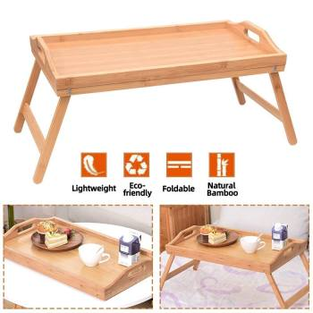New Wooden Folding Laptop Table Breakfast Serving Bed Trays Adjustable Foldable with Flip Top and Legs Computer Desk Stand