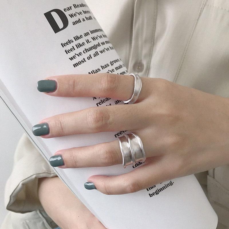 Image 3 - SSTEEL 925 Sterling Silver Rings For Women Lrregular Open Ring Anelli Argento Donna Bijoux Argent Massif Pour Femme JewelryRings   -