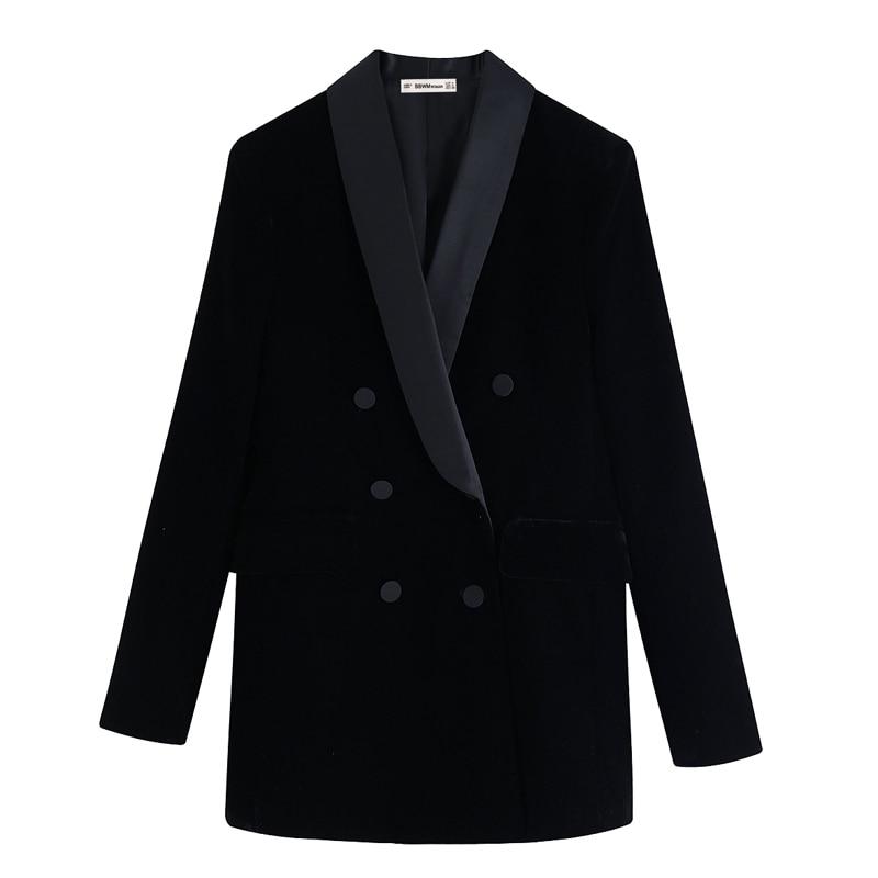 Vintage Chic Velvet Double Breasted Jacket Women Fashion Solid Shawl Collar Coats Women Elegant Long Sleeve Jackets