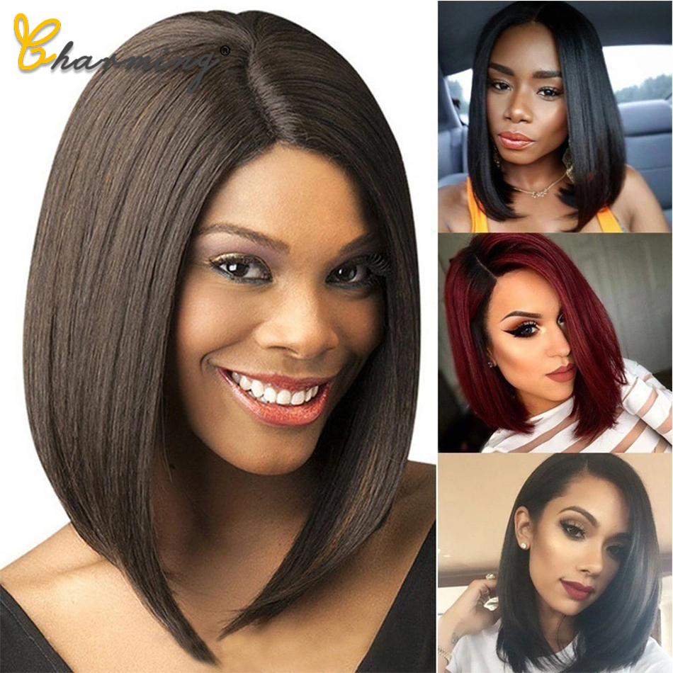 CHARMING Straight Black Synthetic Wigs For Women Medium Part 14 Inch Hair Bob Wig Heat Resistant bobo Hairstyle Cosplay Wigs