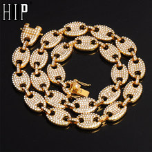 HIP HOP CZ Gold  Coffee Iced Out Alloy Bean Pig Nose Rhinestone Necklace Charm Link Chain Bling Necklaces for Men Jewelry