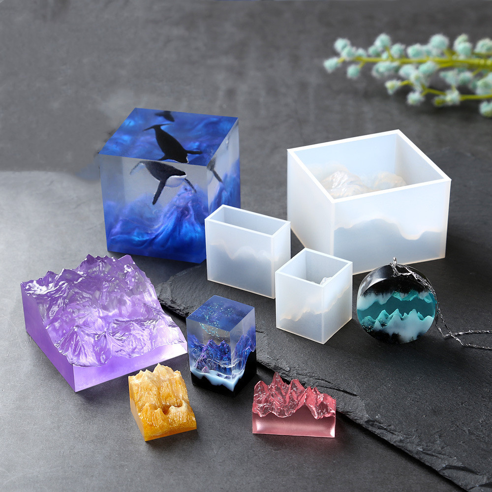 SNASAN Silicone Mold Crafts Mountain Peak Shaped UV Resin Silicone Mould Jewelry Making Tool Decoration Resin Molds