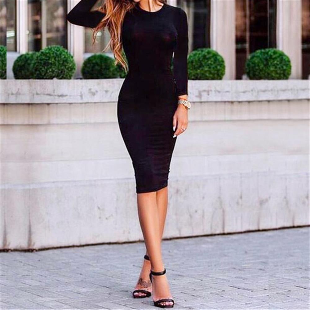 Sexy Bodycon Dress Hot-Sale Solid-Color Women's Vestido Autumn Slim