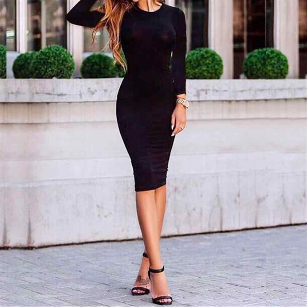 2019 Autumn Women's Sexy Bodycon Dress Solid Color Dress Chic Fitting Dresses Slim Vestido hot sale