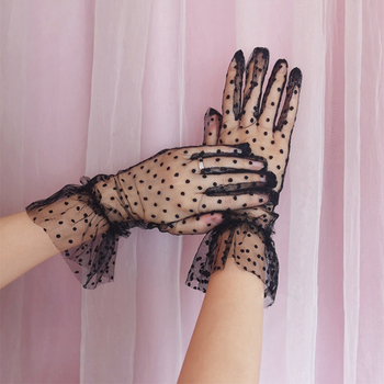 Women's  Guantes Transparentes Dot Print Black White Mesh Tulle Gloves Female Club Prom Party Dancing Dress Glove