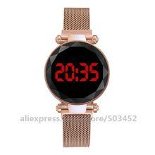 100 개/몫 LED 디지털 Magneto 벨트 시계 뜨거운 판매 손목 시계 아름다움 숙녀 시계 공장 도매 시계