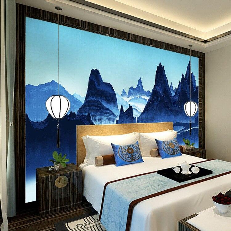 Новый китайский стиль живопись тушью пейзаж гостиная телевизор фон стены обои Современная бесшовная роспись на пленке и телевис