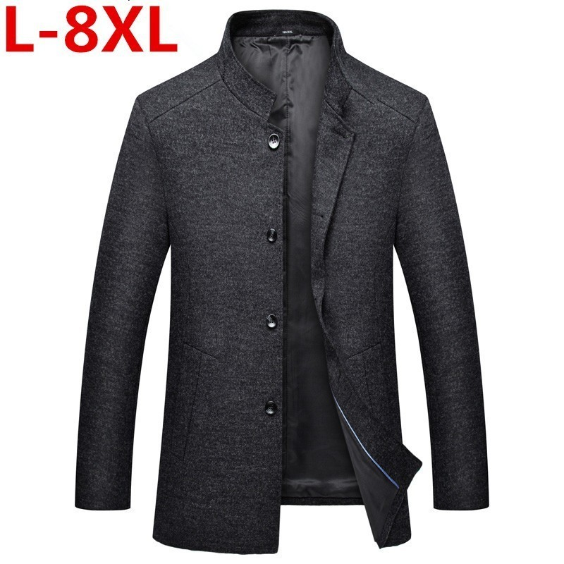 Plus Size 8XL 7XL New Winter Woolen Long Peacoat Men Slim Fit Casual Thick Overcoat Mens Warm Windbreaker Trench Coat Jackets