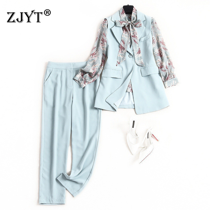 Elegant Lady Office Pants 3Piece Set Women 2020 New Designer Spring Outfits Long Sleeve Bow Neck Print Blouse+Vest+Pants Suit