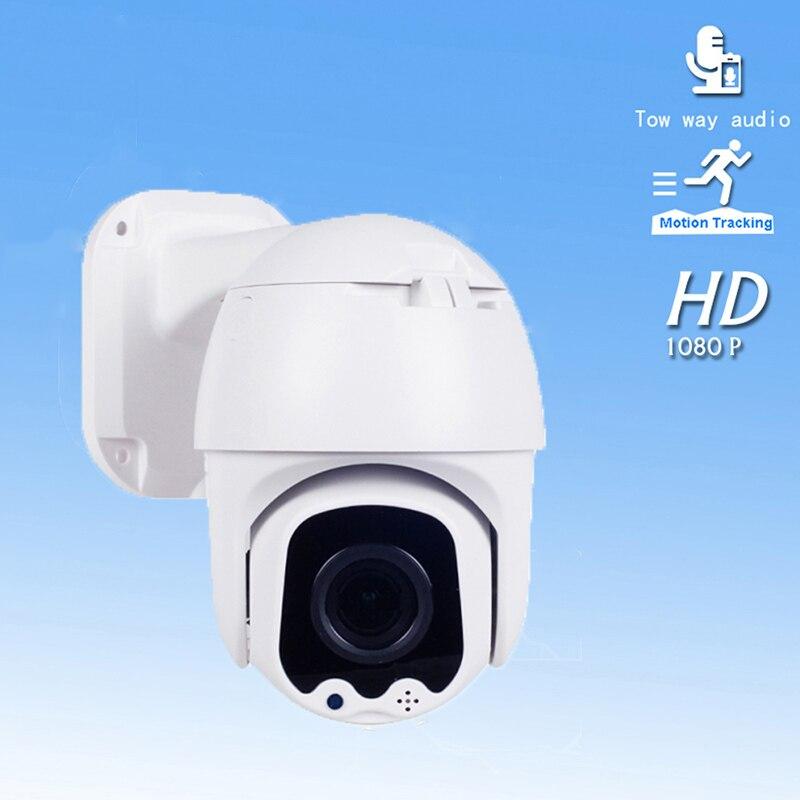 1080P 2 Áudio Bidirecional Câmera IP Auto Tracking PTZ Câmera Dome Ao Ar Livre de Vigilância de Segurança CCTV À Prova D' Água Câmera H265