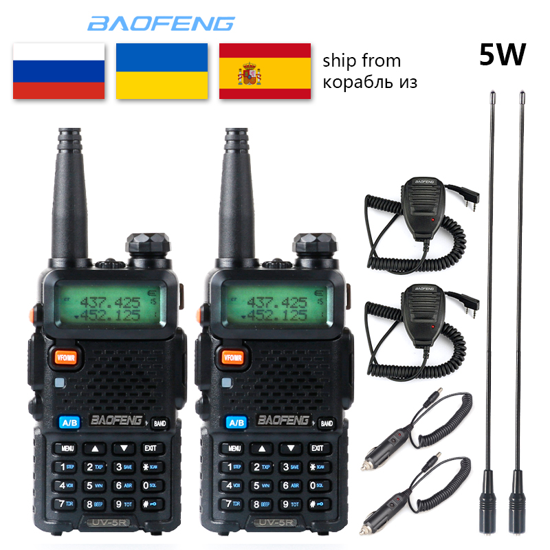 2pc Baofeng UV-5R Walkie Talkie VHF UHF Upgrade Version Radio Station 5W Portable  Baofeng Uv5r Two Way Radio Outdoor Cb Radio