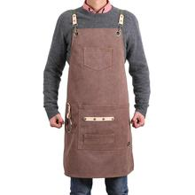 DEETRUST BBQ Canvas Apron Bib Chef Kitchen Apron for Women Men Barista Bartender Pockets home barber cook Coffee Restaurant