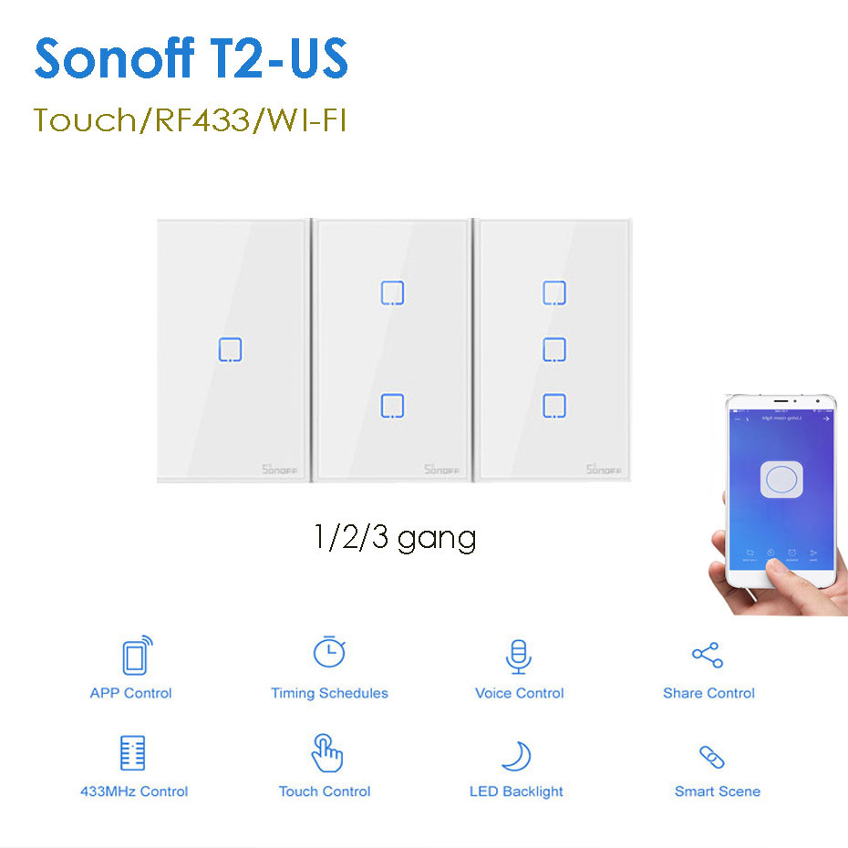 Itead Sonoff T2 US 1/<font><b>2</b></font>/3 <font><b>gang</b></font> Smart Wall Light <font><b>Switch</b></font> with Border,Touch/RF433/<font><b>wifi</b></font> Control,Works With Alexa Google Home,120 Size image