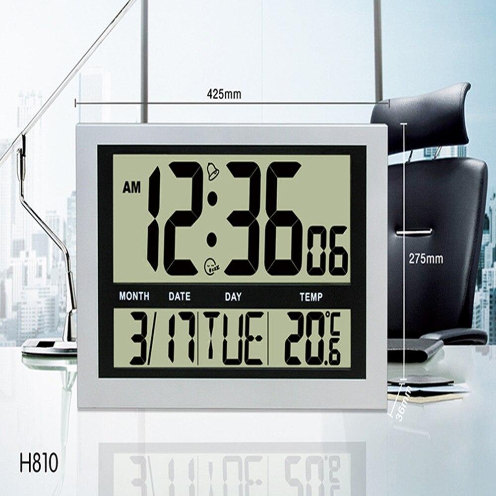 JIMEI H810 horloge murale numérique Simple Jumble affichage LCD calendrier de température d'alarme grand nombre pour usage domestique/bureau
