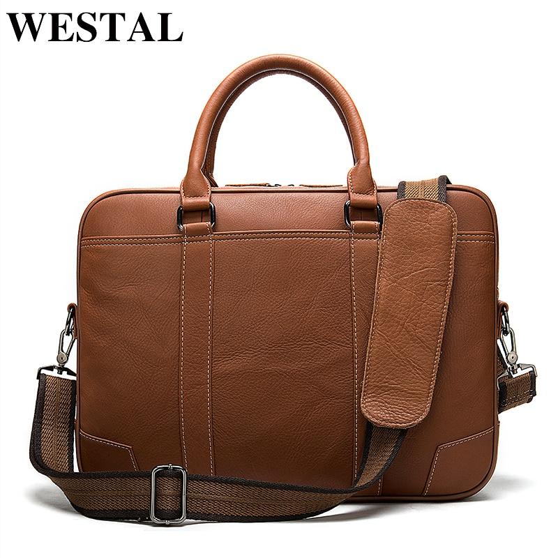 WESTAL Bag Men's Briefcase Genuine Leather Laptop Bag Men Leather Office Bags For Men Porte Document Business Handbag For Men