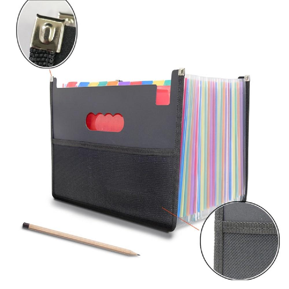 24 Pockets Expanding File Folder Filing Box With Unique Mesh Bag Design Plastic Expandable File Organizer