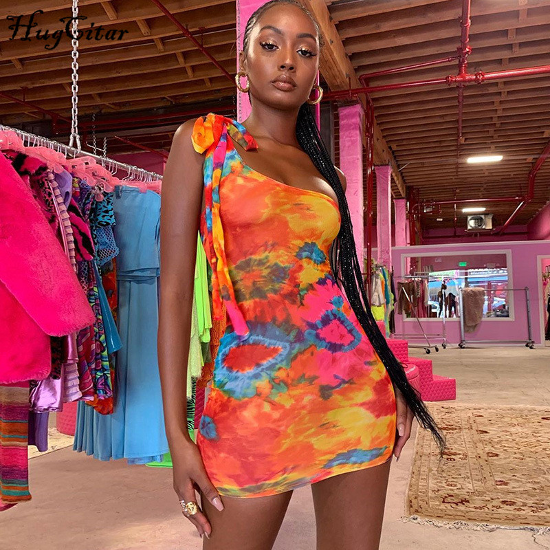 Hugcitar 2019 One-shoulder Colorful Print Tie Dye Sexy Mini Dress Autumn Winter Women Party Streetwear Outfits