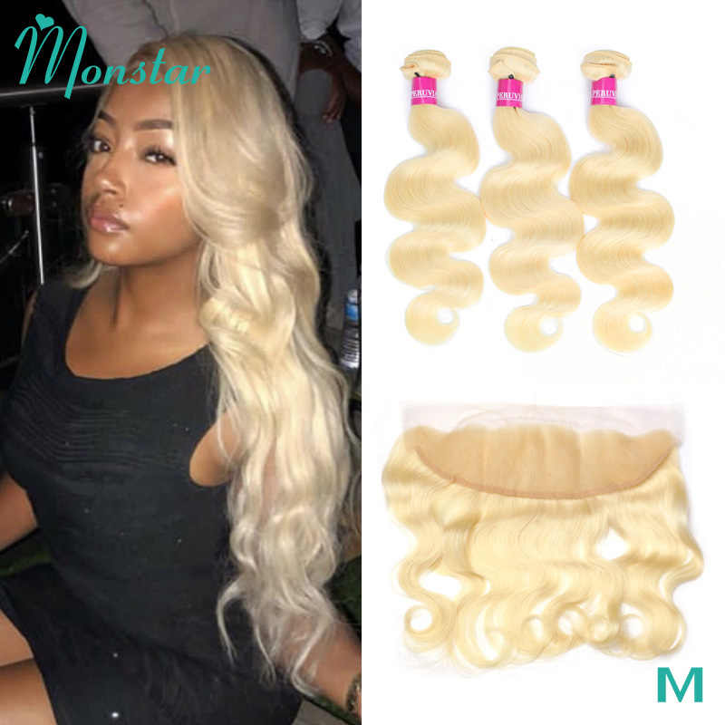 Monstar Remy Blonde Color Hair Body Wave 2/3/4 Bundles with 13x4 Ear to Ear Lace Frontal Closure Brazilian Human Blonde 613 Hair